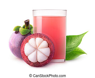 Isolated mangosteen juice - Isolated tropical drink. Glass...