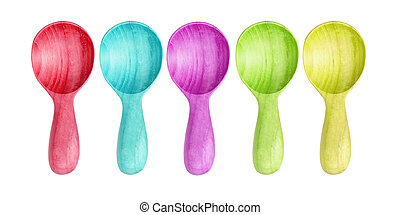 Isolated many color Wooden Kitchen spoons on white background
