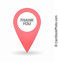 Isolated map mark with the text THANK YOU