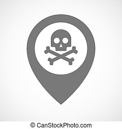 Isolated map marker with a skull