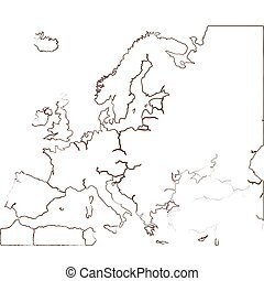 Isolated map of Europe