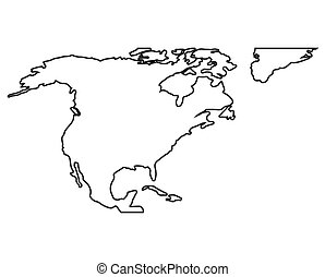 Outline map of north america. isolated vector illustration.