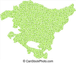 Isolated map of The Basque Country - Region of The Basque...