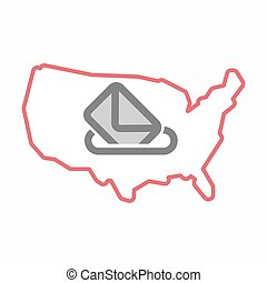 Isolated map of USA with  a ballot box