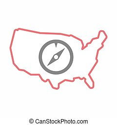 Isolated map of USA with a compass