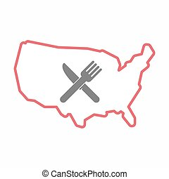 Isolated map of USA with a knife and a fork
