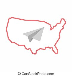 Isolated map of USA with a paper plane