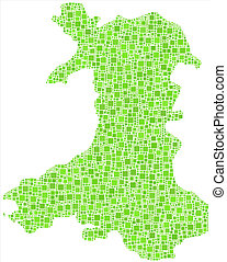 Isolated map of Wales - UK -