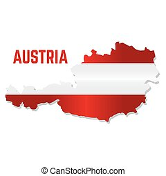 Isolated map with flag of Austria