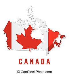 Isolated map with flag of Canada
