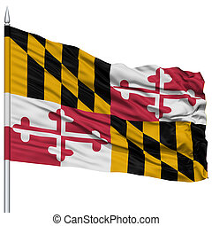 Isolated Maryland Flag on Flagpole, USA state
