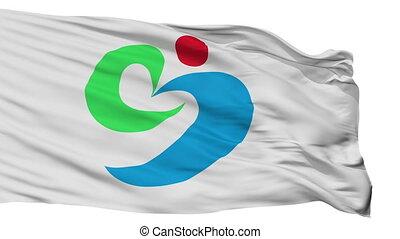 Isolated Matsuura city flag, prefecture nagasaki, Japan -...