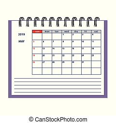 isolated May page 2019 planner calendar