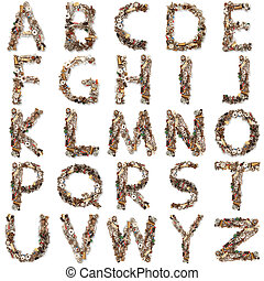 isolated mechanical alphabet in white background