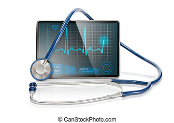 Isolated medical tablet - Medical tablet showing cardiogram...