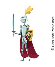 Isolated medieval knight character standing with sword on a white background. Vector illustration