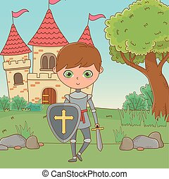 Isolated medieval knight design vector illustration