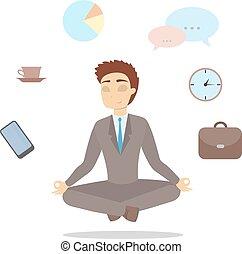 Isolated meditating businessman.