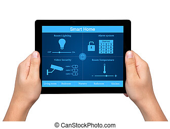 isolated men hands hold a tablet touch computer with system smart house on the screen