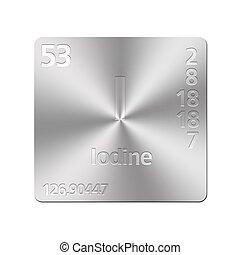 Iodine element symbol isolated on white background stock isolated metal button with periodic table iodine urtaz Choice Image