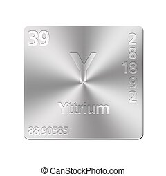 Yttrium element symbol isolated on white background drawing isolated metal button with periodic table yttrium urtaz Images