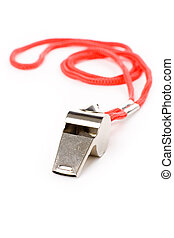 metal Whistle - isolated metal Whistle, sport concept