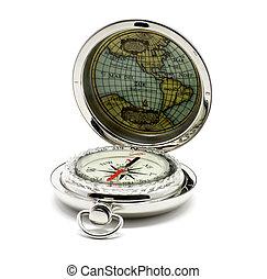 Isolated metallic compass over white