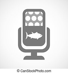 Isolated mic icon with  a tuna fish