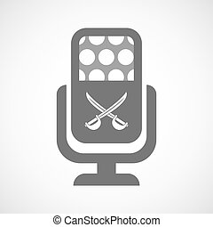 Isolated mic icon with  two swords crossed