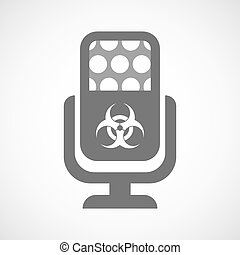 Isolated microphone icon with a biohazard sign