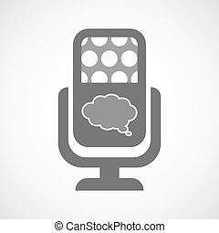 Isolated microphone icon with a comic cloud balloon