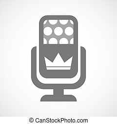 Isolated microphone icon with a crown