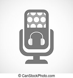 Isolated microphone icon with a earphones
