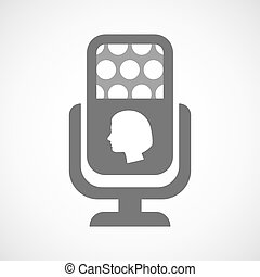 Isolated microphone icon with a female head