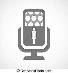 Isolated microphone icon with a female pictogram