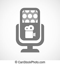 Isolated microphone icon with a film camera