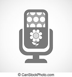 Isolated microphone icon with a flower