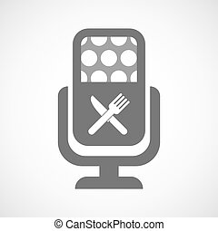 Isolated microphone icon with a knife and a fork