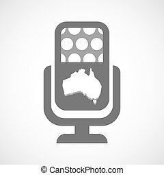 Isolated microphone icon with a map of Australia