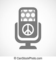 Isolated microphone icon with a peace sign