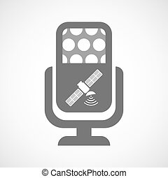 Isolated microphone icon with a satellite