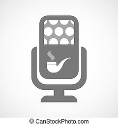 Isolated microphone icon with a smoking pipe