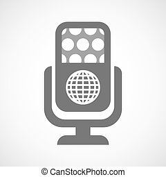 Isolated microphone icon with a world globe
