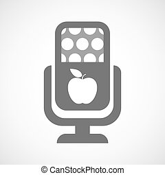 Isolated microphone icon with an apple