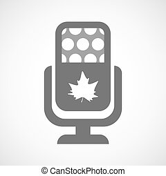 Isolated microphone icon with an autumn leaf tree