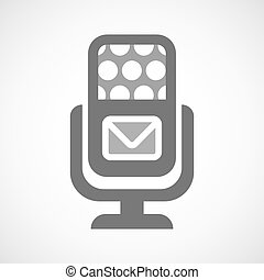 Isolated microphone icon with an envelope