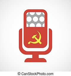 Isolated microphone icon with the communist symbol