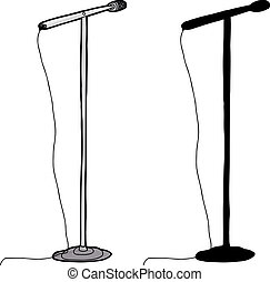 Cartoon and silhouette microphone stand over white background