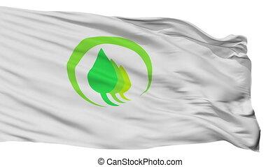Isolated Midori city flag, prefecture Gunma, Japan - Midori...