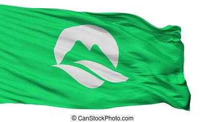 Isolated Mine city flag, prefecture Yamaguchi, Japan - Mine...